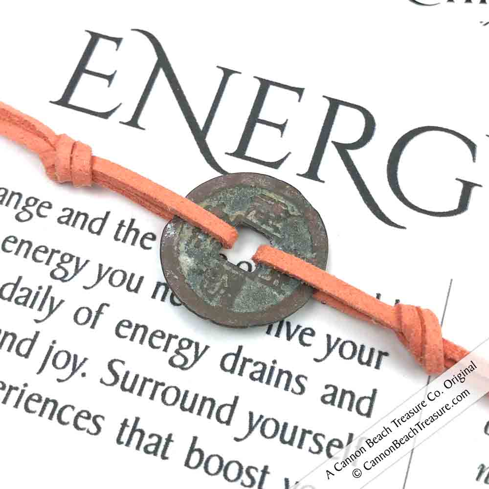 Intention: ENERGY - Smooth Patina Authentic Chinese Shipwreck Coin Wrap Bracelet & Necklace in Deep Peach