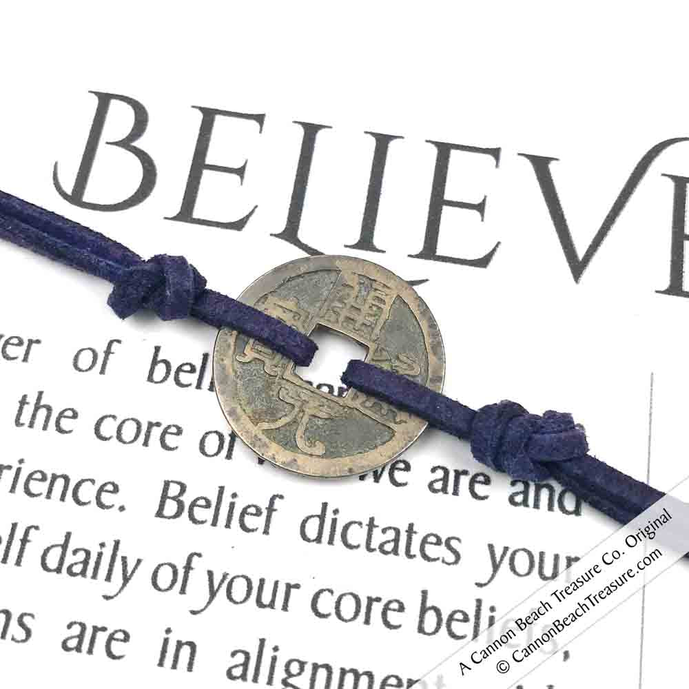Intention: BELIEVE - Smooth Patina Authentic Chinese Shipwreck Coin Wrap Bracelet & Necklace in Midnight Navy