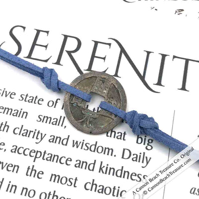 Intention: SERENITY - Smooth Patina Authentic Chinese Shipwreck Coin Wrap Bracelet & Necklace in Heathered Blue
