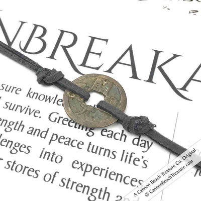 Intention: UNBREAKABLE - Smooth Patina Authentic Chinese Shipwreck Coin Wrap Bracelet & Necklace in Charcoal Grey