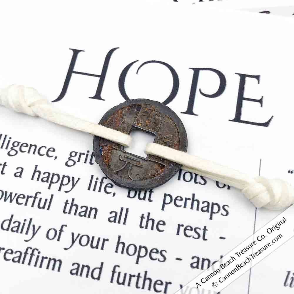 Intention: HOPE - Smooth Patina Authentic Chinese Shipwreck Coin Wrap Bracelet & Necklace in Ivory
