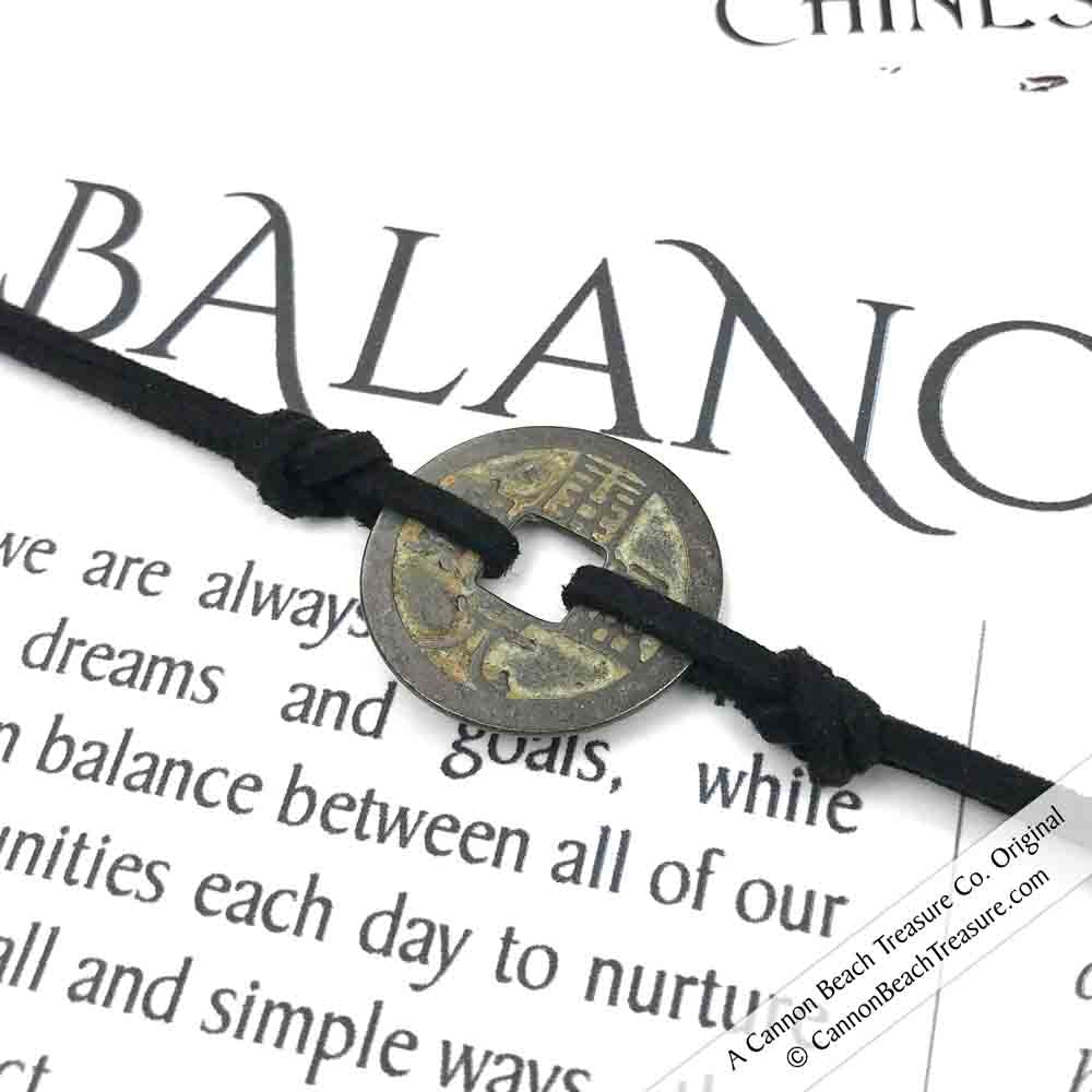Intention: BALANCE - Smooth Patina Authentic Chinese Shipwreck Coin Wrap Bracelet & Necklace in Rich Black
