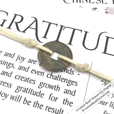 Intention: GRATITUDE - Smooth Patina Authentic Chinese Shipwreck Coin Wrap Bracelet & Necklace in Bone