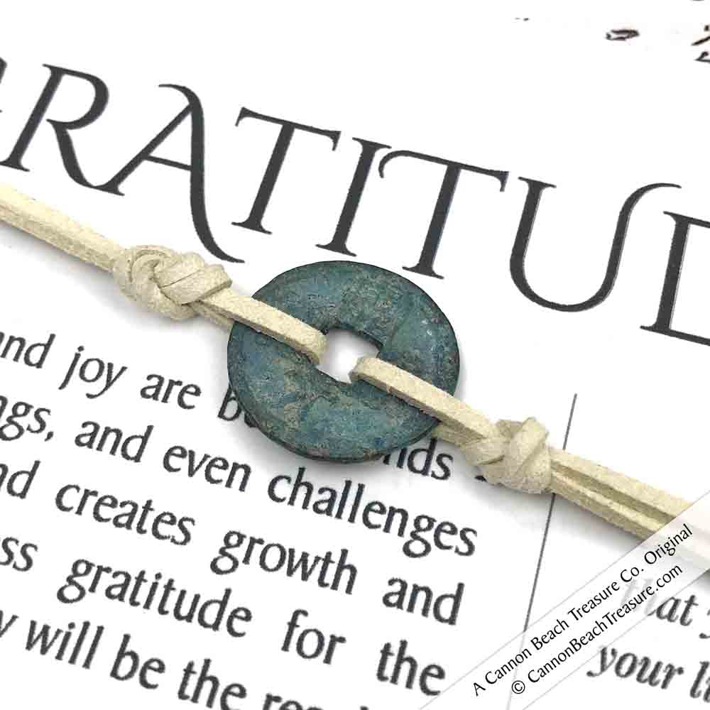 Intention: GRATITUDE - Rustic Patina Authentic Chinese Shipwreck Coin Wrap Bracelet & Necklace in Bone
