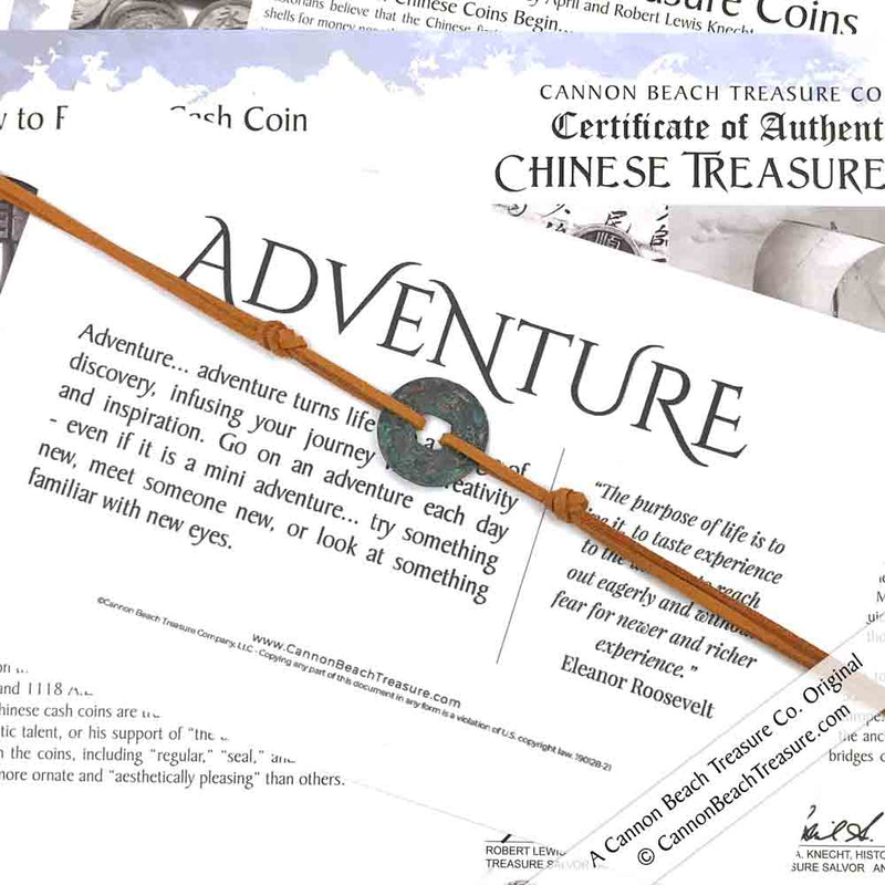 Intention: ADVENTURE - Rustic Patina Authentic Chinese Shipwreck Coin Wrap Bracelet & Necklace in Deep Camel