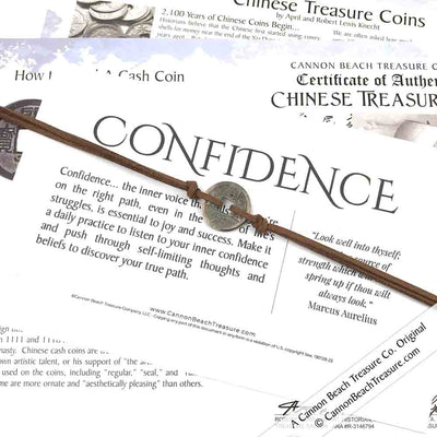 Intention: CONFIDENCE - Smooth Patina Authentic Chinese Shipwreck Coin Wrap Bracelet & Necklace in Walnut Brown