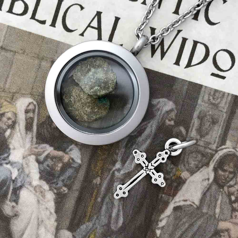 Jerusalem Hoard Bronze Biblical Widow's Mite 2 Mite Locket & Cross Charm Package
