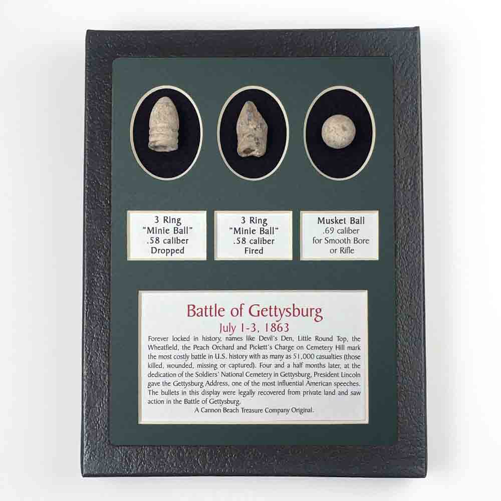 Civil War Gettysburg Three Bullet Set in Black Framed Box