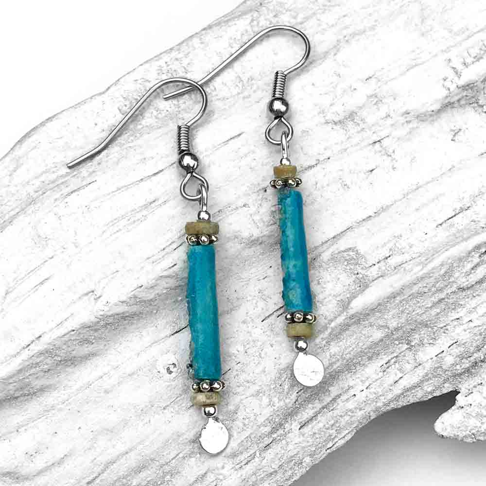 Rare Bright Turquoise Ancient Egyptian Faience Mummy Bead Earrings in Sterling Silver
