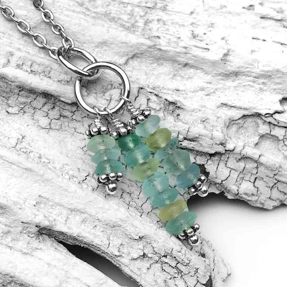 Ancient Roman Glass Cluster Necklace in Sterling Silver
