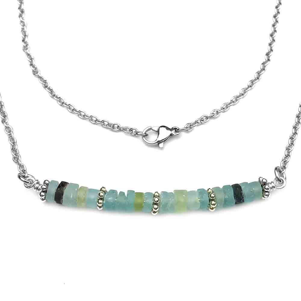 Ancient Roman Glass Bar Necklace in Sterling Silver