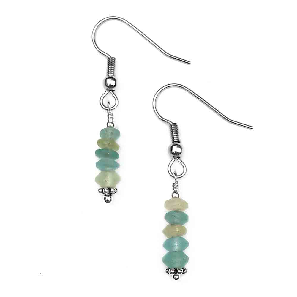 Ancient Roman Glass Earrings in Sterling Silver