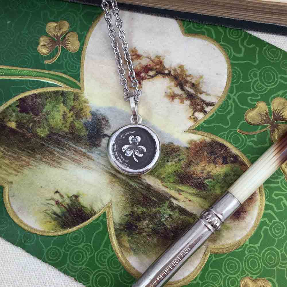 Lucky Irish Shamrock Fine Silver Wax Seal Necklace