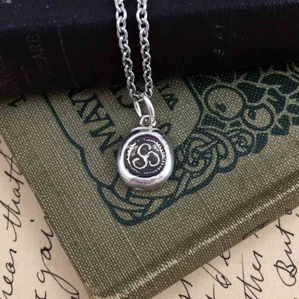Celtic Druid Triskele Fine Silver Wax Seal Necklace