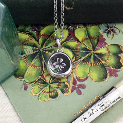 Irish Celtic Shamrock Four Leaf Clover Silver with Tsavorite Garnet Victorian Wax Seal Necklace
