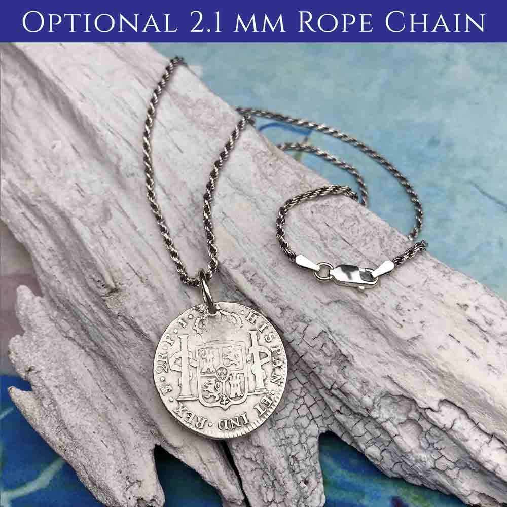 "Pirate Chic Silver 1/2 Reale Spanish Portrait Dollar - the Legendary ""Piece of Eight"" Necklace Dated 1820 with Genuine Apatite 