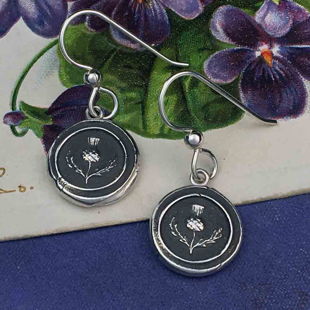 Scottish Thistle Fine Silver Wax Seal Earrings