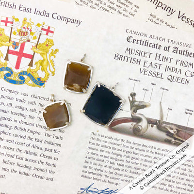 Shipwreck British East India Company Original Brown Bess Musket Flint Sterling Pendants and Musket Infographic
