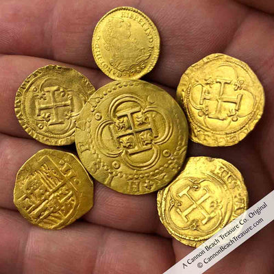 Gold Doubloons from the Cadiz Bay Authentic Pirate Gold Doubloon Pendant Collection