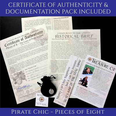 Spanish Pirate Treasure Reale Coin Certificate of Authenticity and Documentation Package Cannon Beach Treasure Company