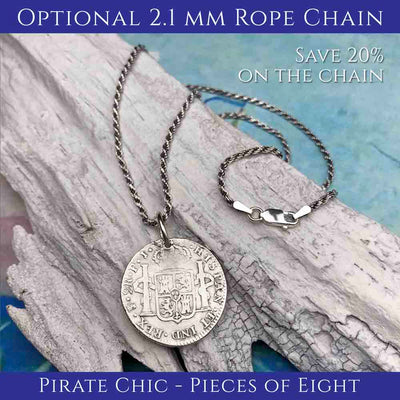 Pirate Chic 1 Reale Spanish Cob circa 1640 - the Legendary Piece of Eight Necklace | Artifact #3600