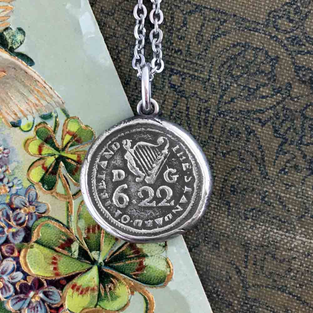 Standard of Ireland Celtic Harp Fine Silver Wax Seal Necklace