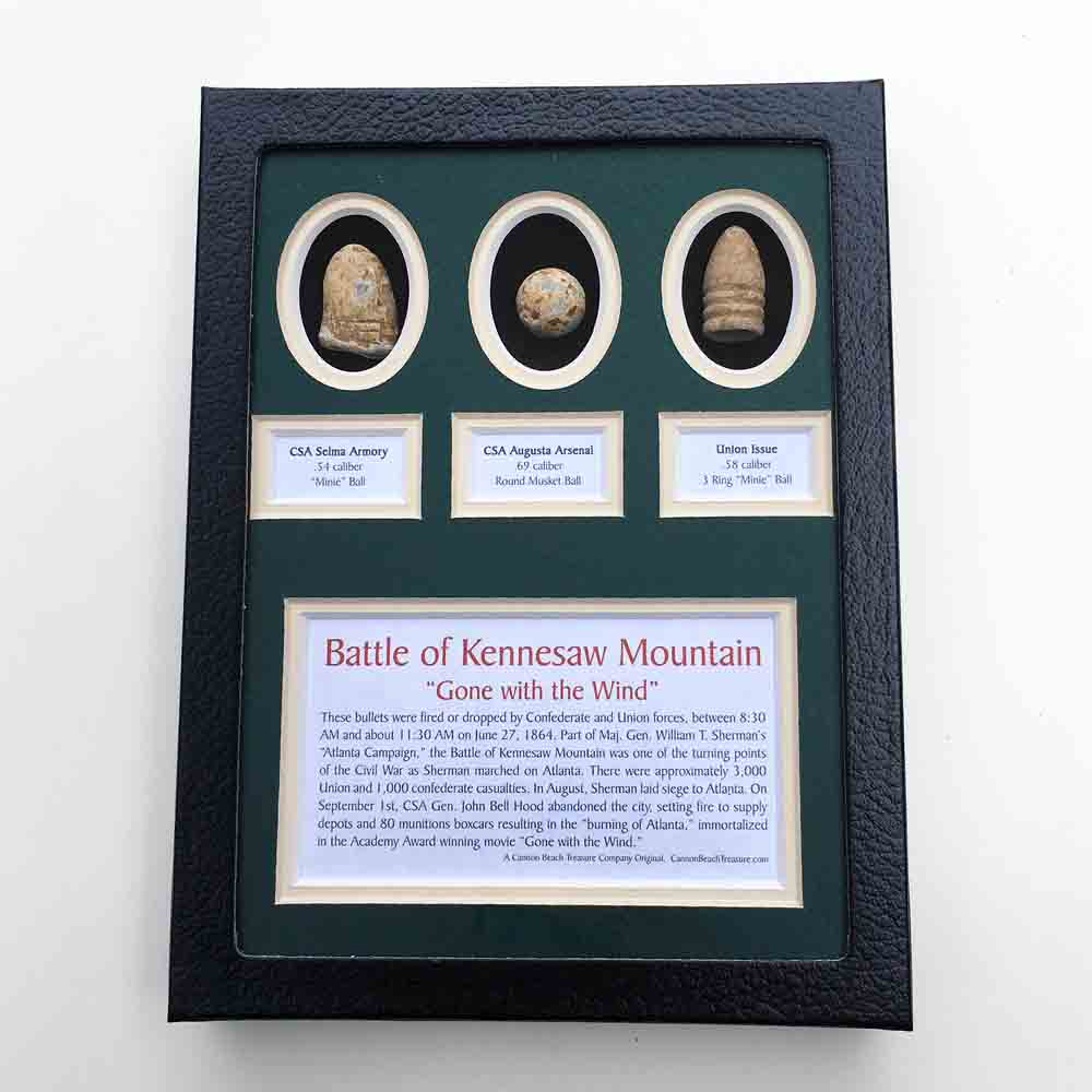 Civil War Battle of Kennesaw Mountain Three Bullet Set in Black Framed Box