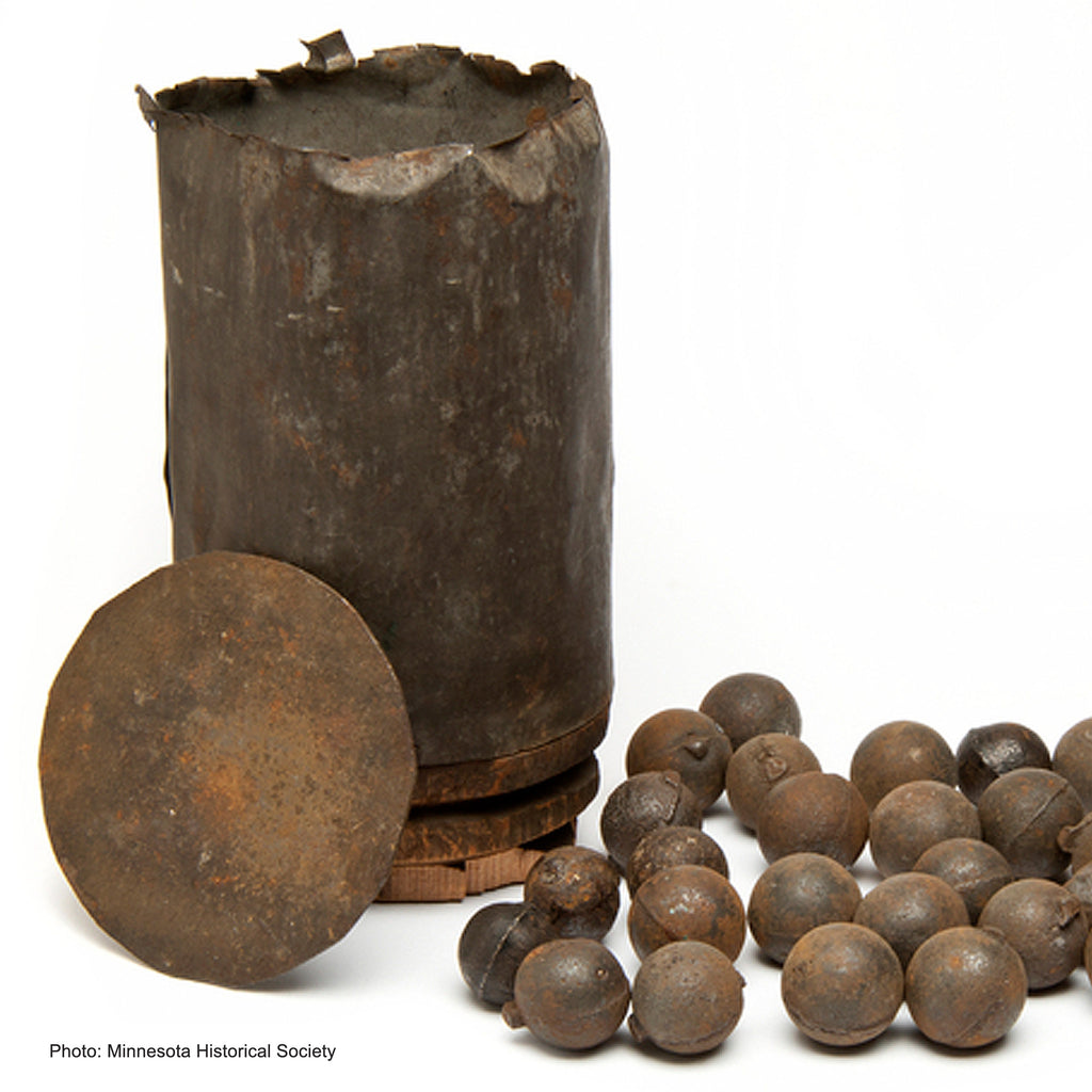 Battle of Kennesaw Mountain Confederate Cannon Ball with Stand and Display Case