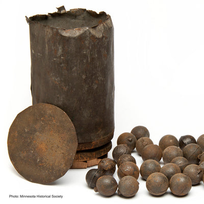 GETTYSBURG SET: Rare Cannon Ball (Canister shot) with Stand & 3 Bullet Set in Framed Box