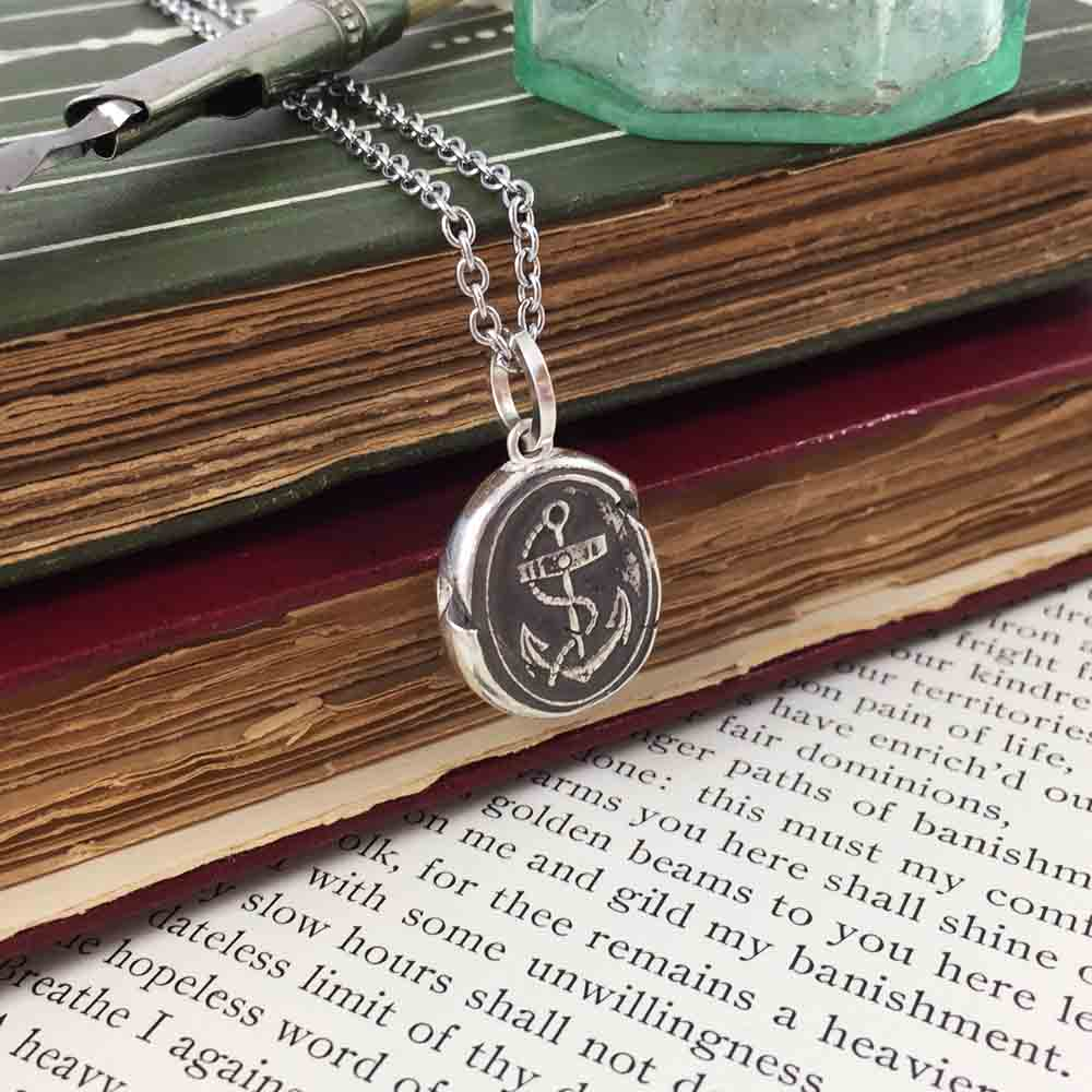 Anchor - The Mariner's Cross Fine Silver Wax Seal Necklace