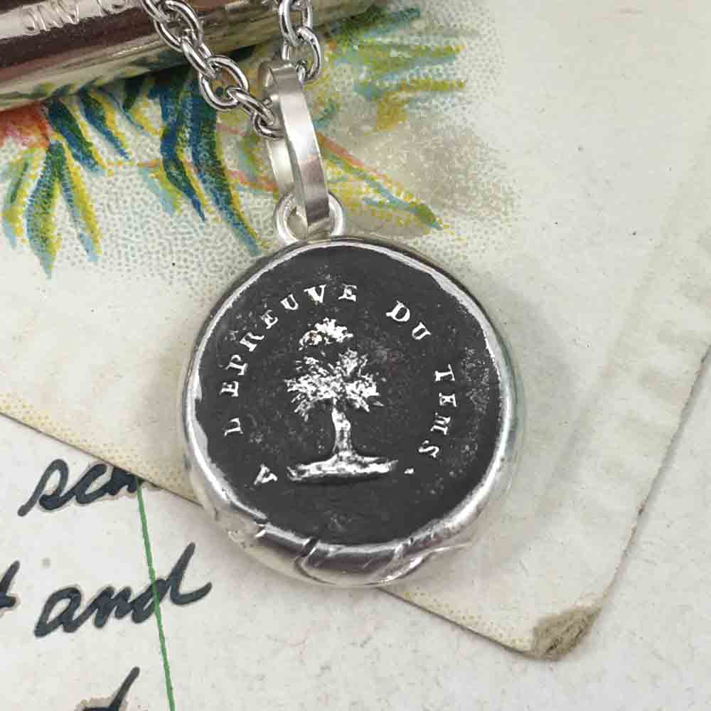 I Will Stand the Test of Time Fine Silver Wax Seal Pendant