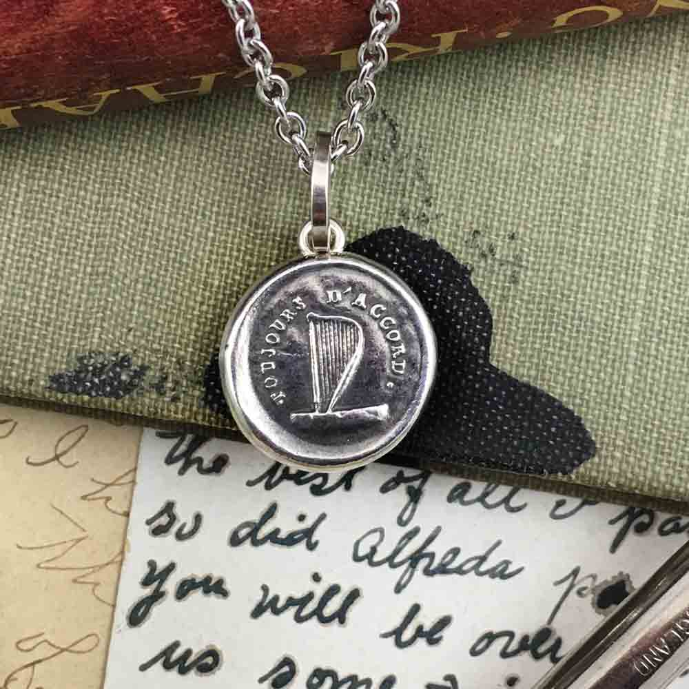 A Life in Harmony Fine Silver Wax Seal Pendant