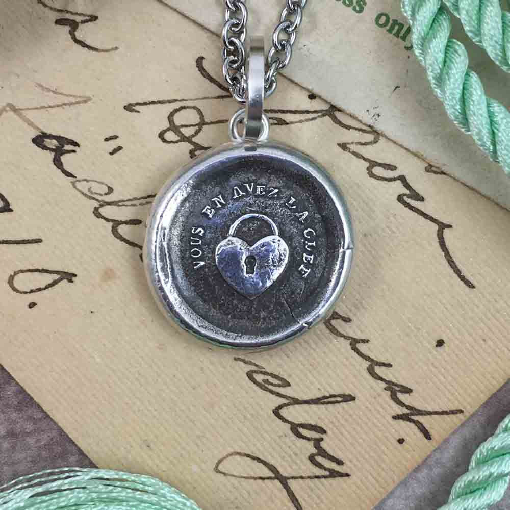 You Hold the Key to My Heart Fine Silver Wax Seal Pendant