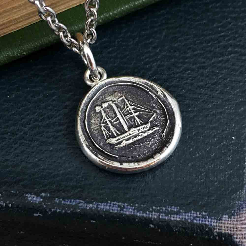 Two Masted Paddle Wheeler Fine Silver Wax Seal Pendant