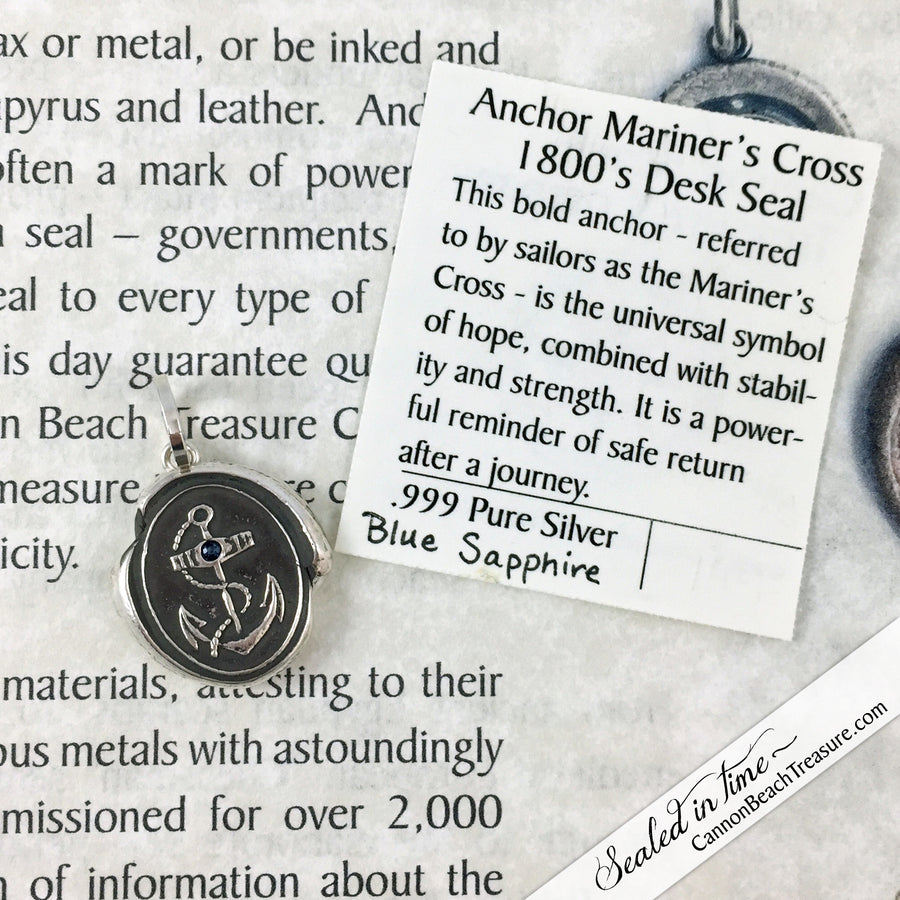 Anchor - The Mariner's Cross Wax Seal Necklace with Gemstone | Seal Date & Origin: Victorian Portsmouth, England
