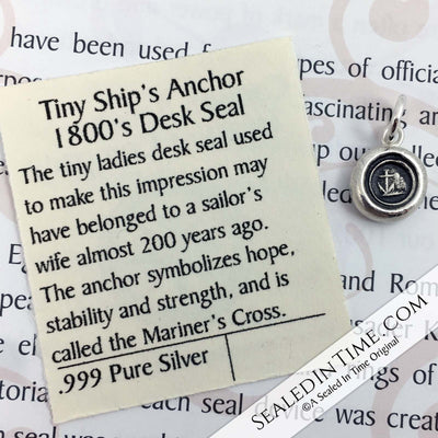 Tiny Anchor - the Mariner's Cross Wax Seal Pendant | Seal Date & Origin: 1800s, England
