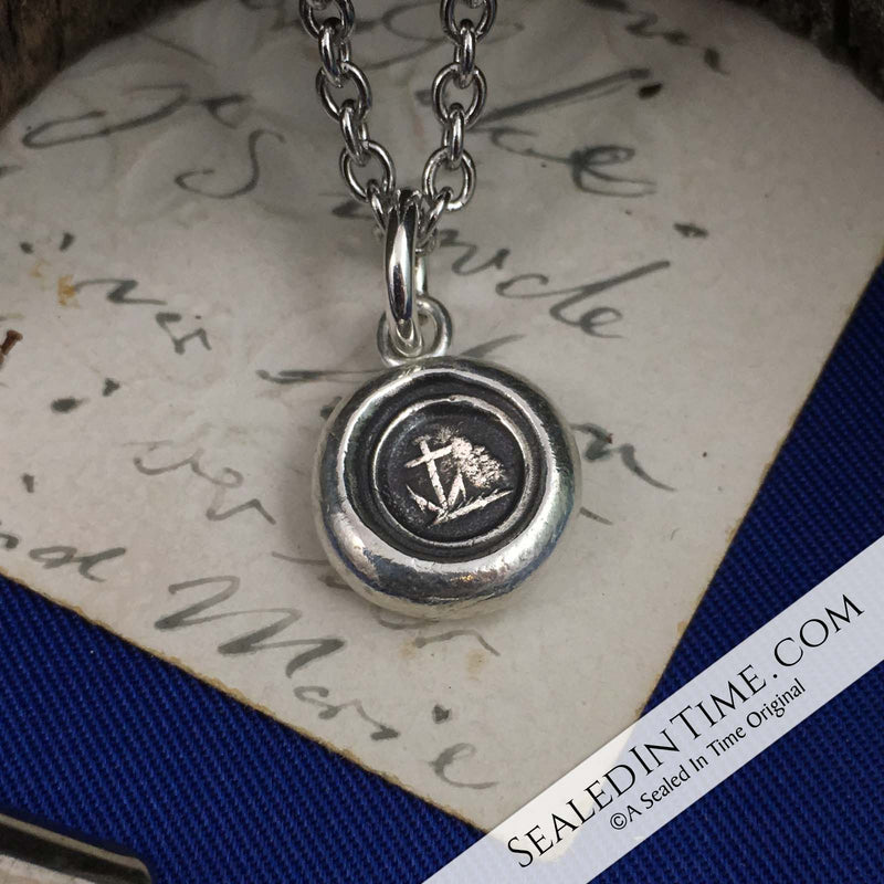 Tiny Anchor - the Mariner's Cross Wax Seal Pendant | Seal Date & Origin: 1800s, England #3386