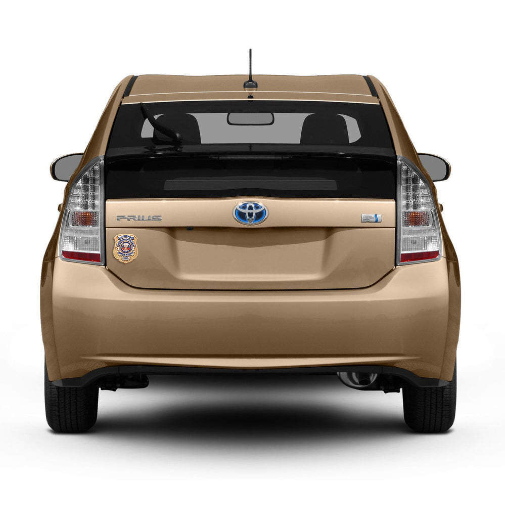 Gold Toyota Prius with Honor Badge Car Magnet
