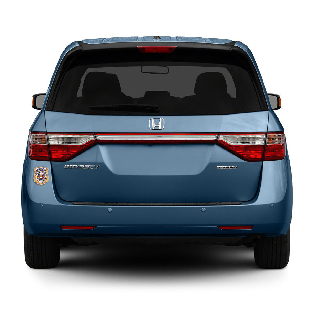 Blue Honda Odyssey with Honor Badge Car Magnet