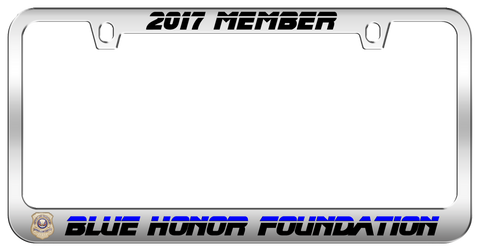 2017 Blue Honor Foundation Member Special Edition Engraved Polished Chrome License Plate Frame