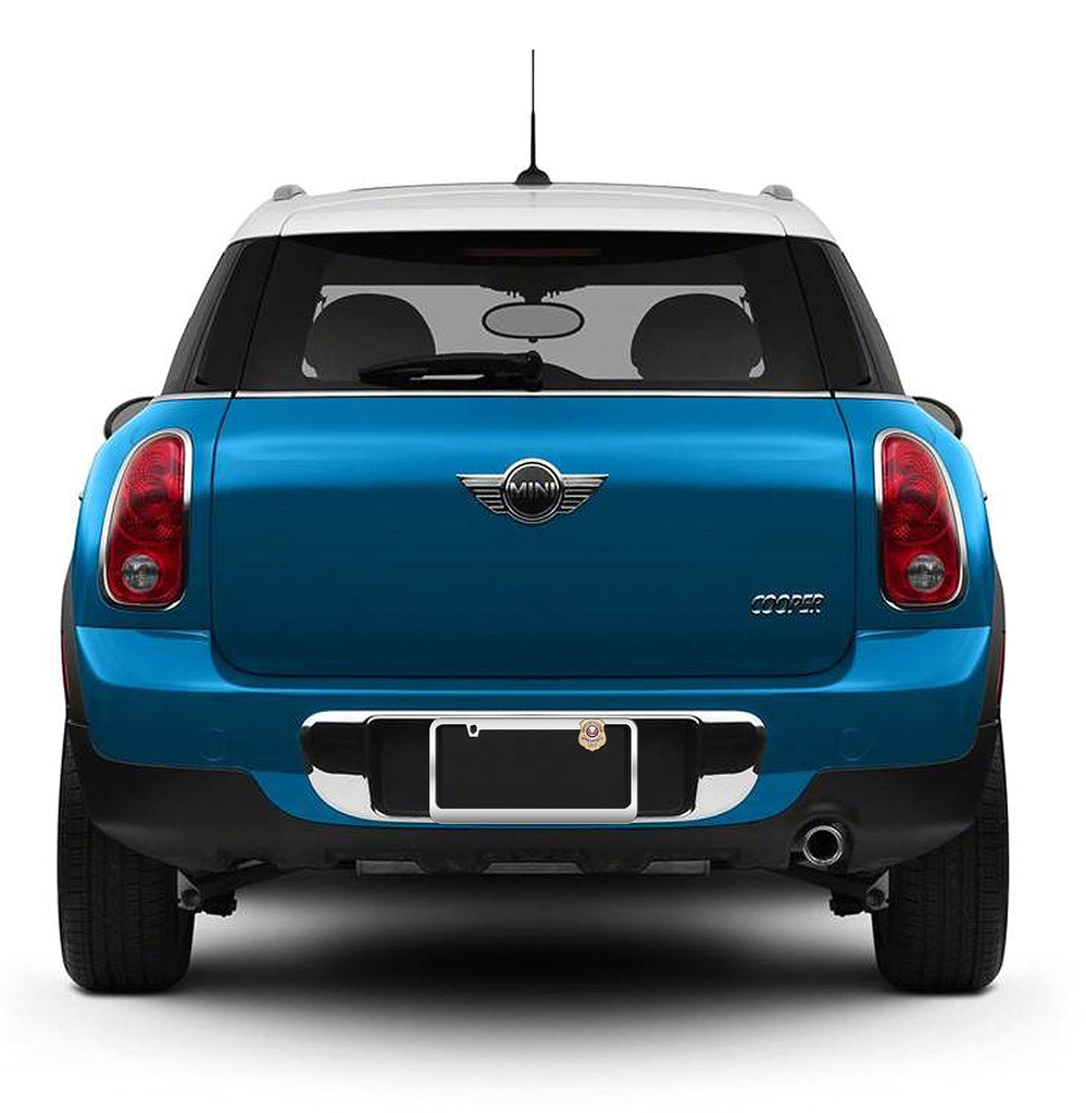 Blue Mini Cooper with Gold-Plated License Plate Honor Badge