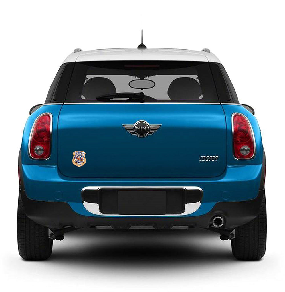 Blue Mini Cooper with Honor Badge Car Magnet