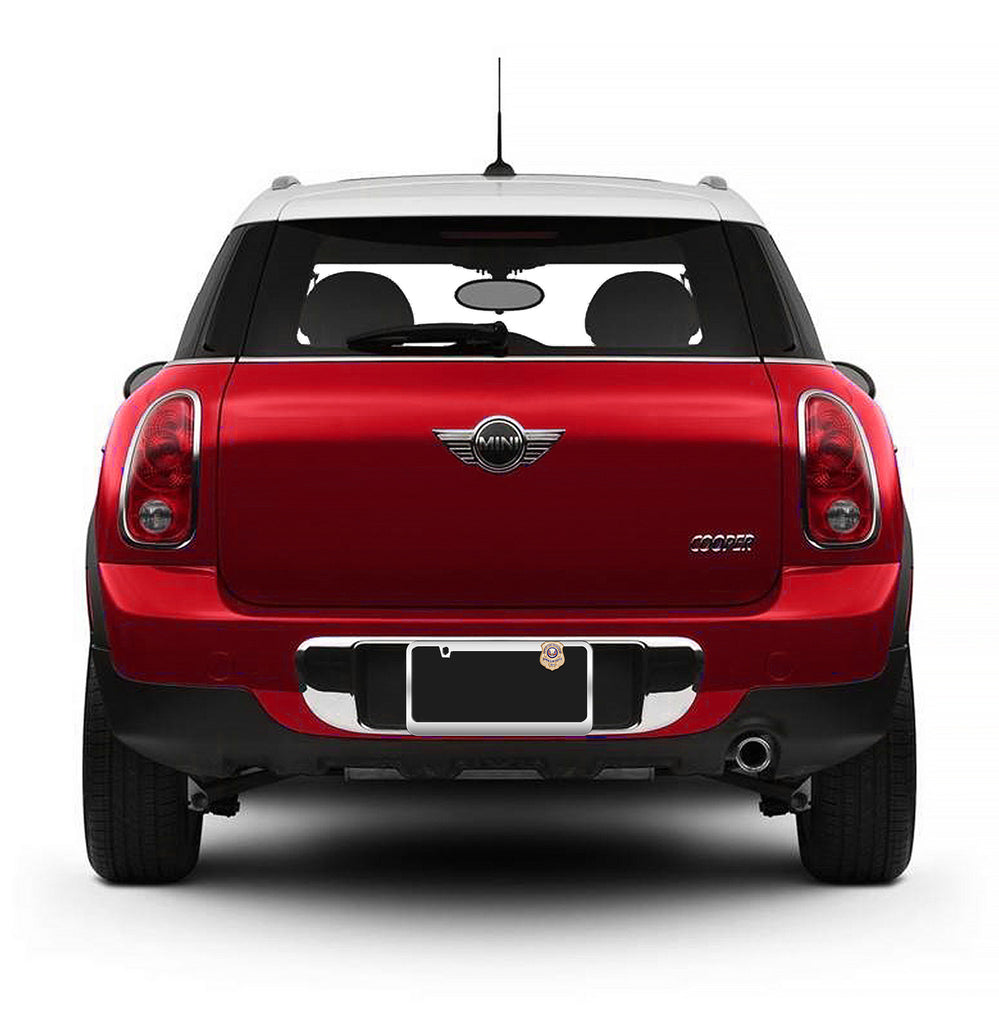 Red Mini Cooper with Gold-Plated License Plate Honor Badge