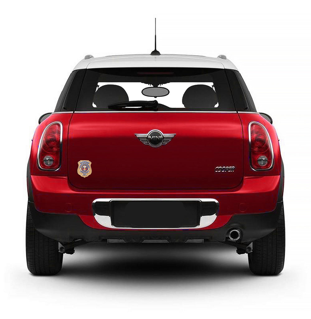 Red Mini Cooper with Honor Badge Car Magnet