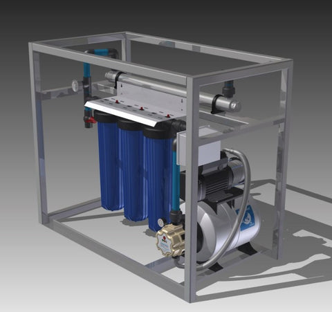 Pressurized rainwater purification unit, plug and play for household