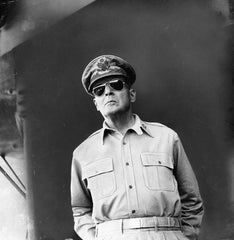 Mydans, Carl: General Douglas MacArthur on board ship, 1945