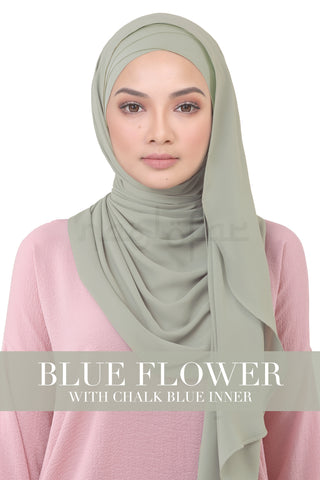 BE LOFA INSTANT KOREAN CHIFFON - BLUE FLOWER WITH CHALK BLUE INNER