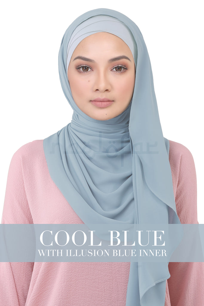 BE LOFA INSTANT KOREAN CHIFFON - COOL BLUE WITH ILLUSION BLUE INNER