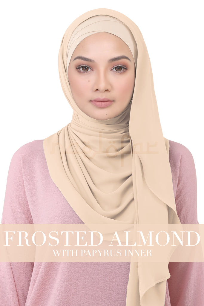 BE LOFA INSTANT KOREAN CHIFFON - FROSTED ALMOND WITH PAPYRUS INNER