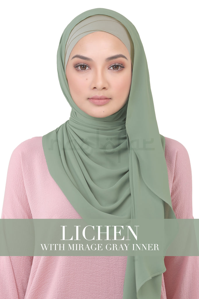 BE LOFA INSTANT KOREAN CHIFFON - LICHEN WITH MIRAGE GRAY INNER